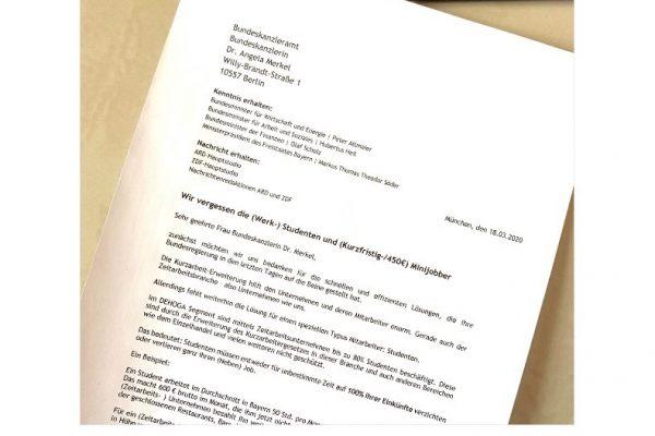 Offener Brief an die Bundesregierung. COVID-19: Studenten ziehen den Kürzeren!